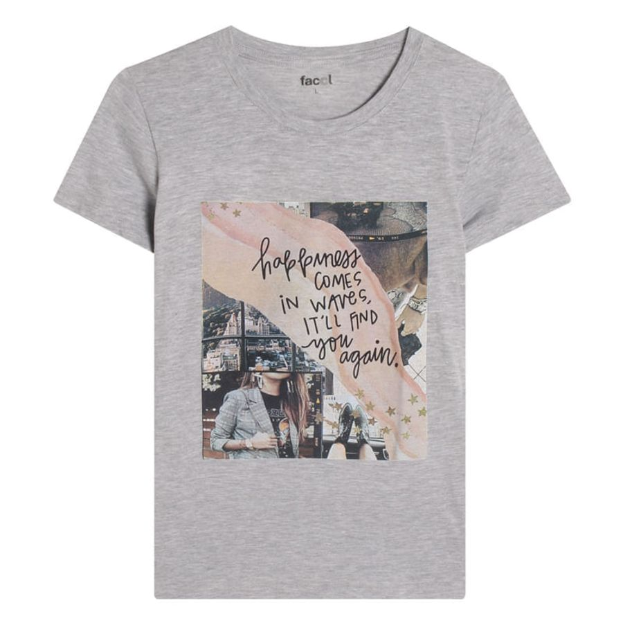 Camiseta Mujer Happiness Color Gris, TallaL