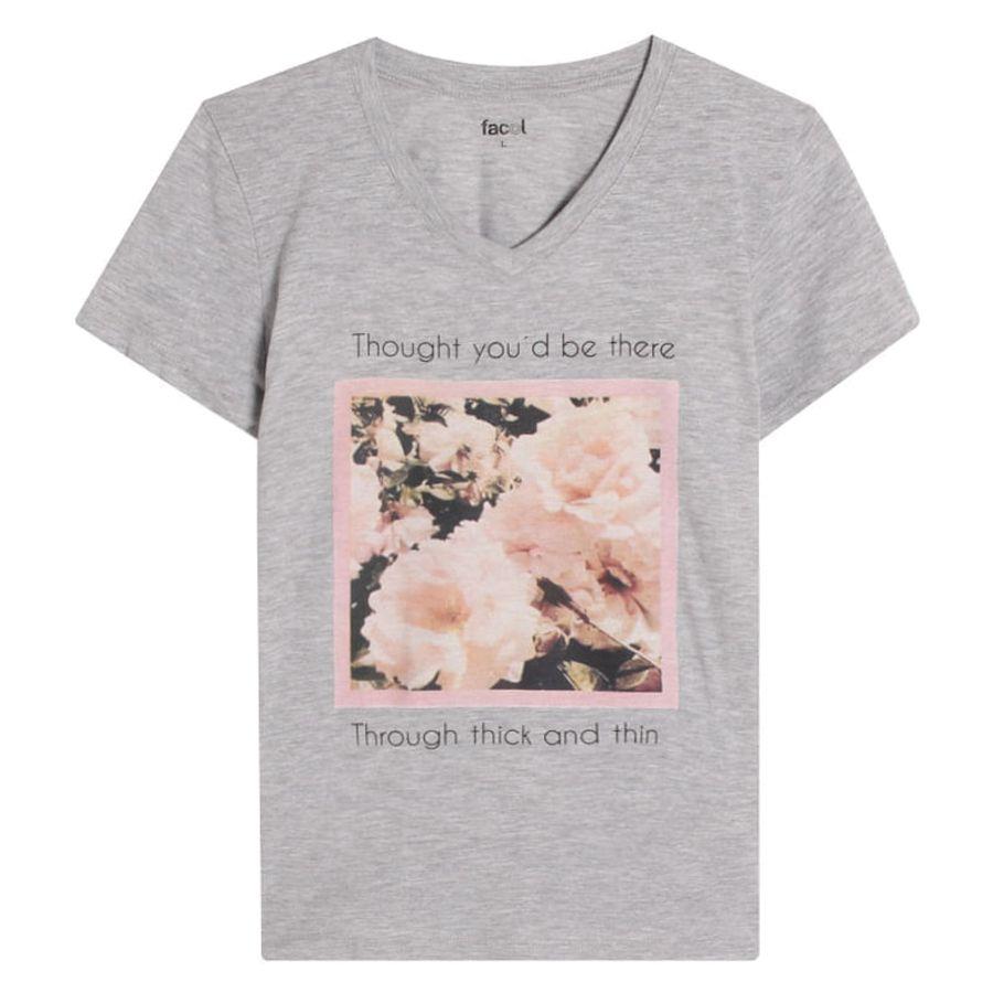Camiseta Mujer Rosas Color Gris, TallaL