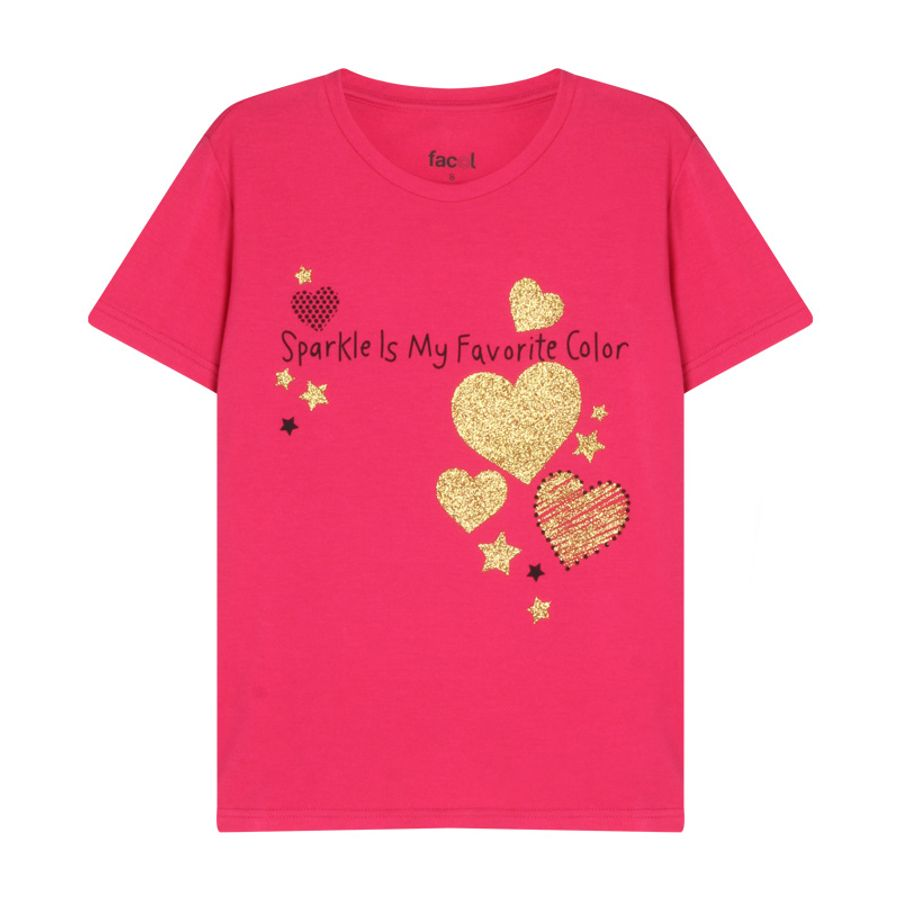 Camiseta Niña Corazones Color Rosado, Talla 10