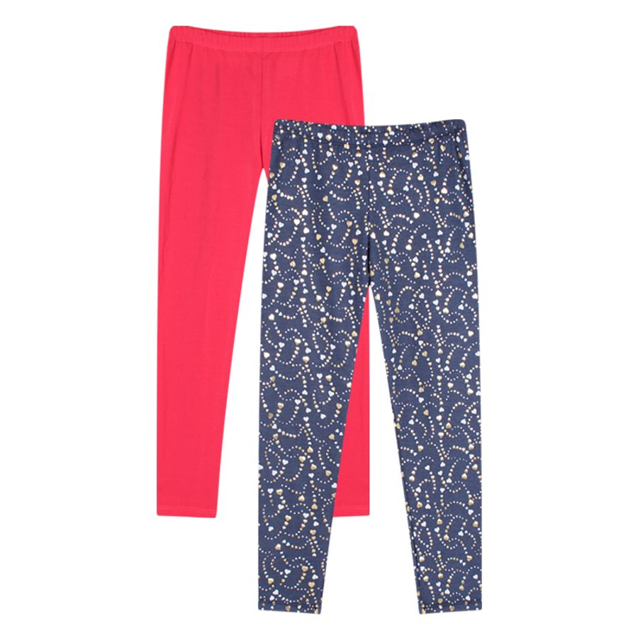 Leggings Duo Niña Mini Print Corazones Y Unicolor Color Azul, Talla10