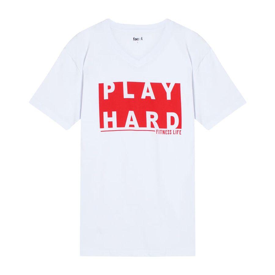 Camiseta Hombre Play Hard Color Blanco, TallaL