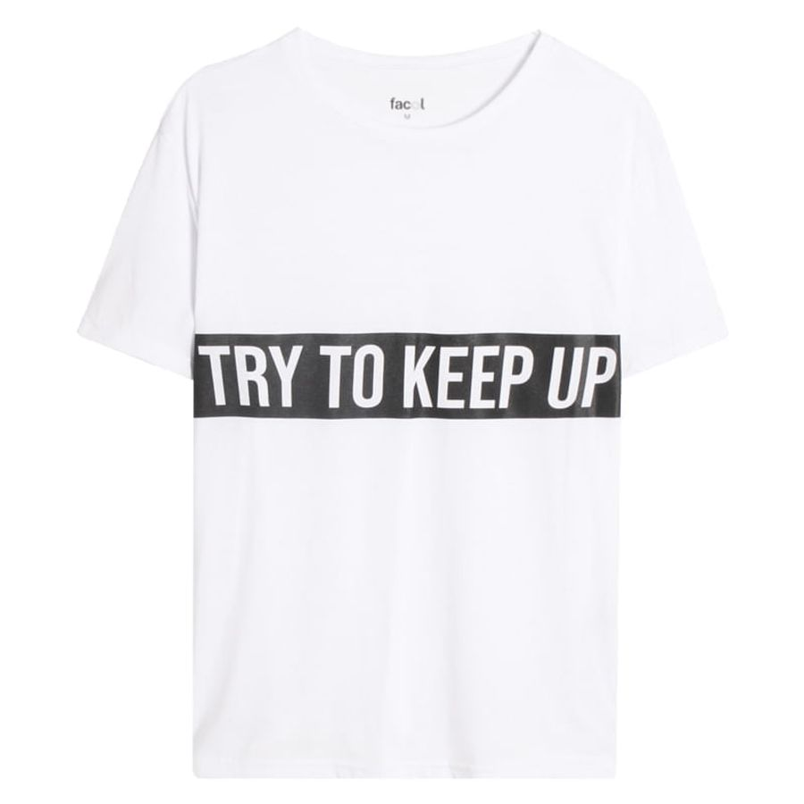 Camiseta DescansoTry To Keep Up Color Blanco, L