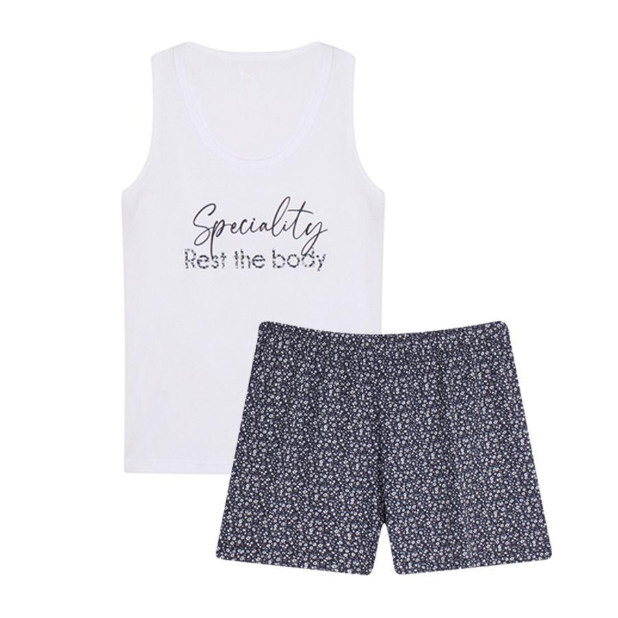 Pijama Dos Piezas Con Short Mini Flores Color Blanco, TallaM