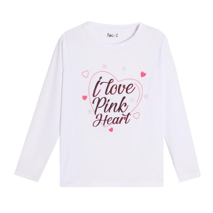 Camiseta M/L Con Screen I Love Pink Heart Color Blanco, Talla 10