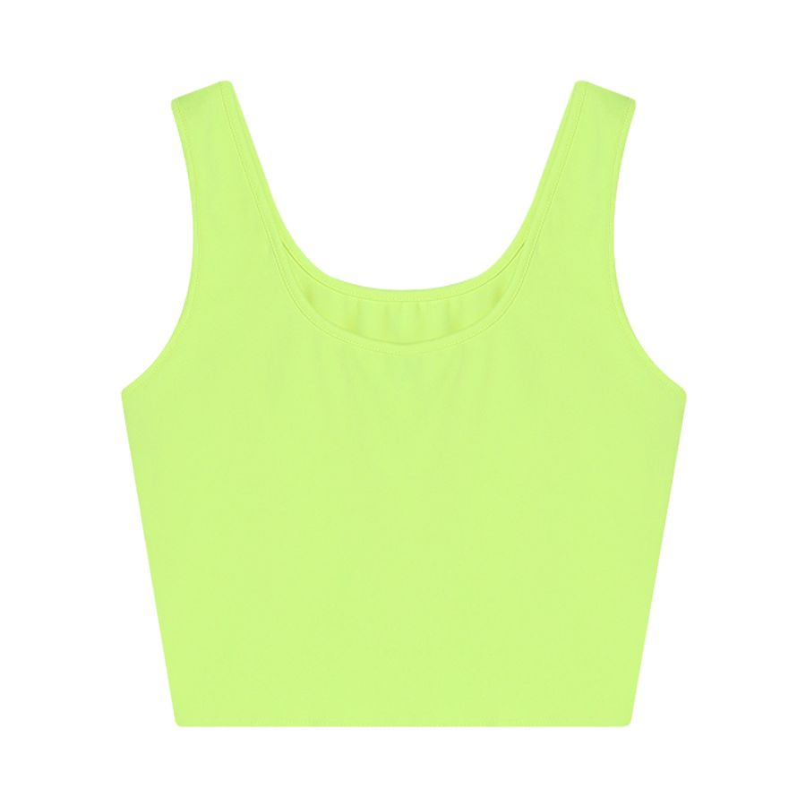 Camiseta Crop Top Unicolor Color Verde, Talla XS