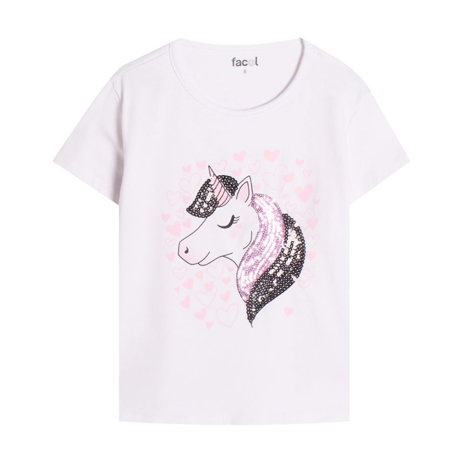 Camiseta Niña Unicornio Blanco Color Blanco, Talla 4