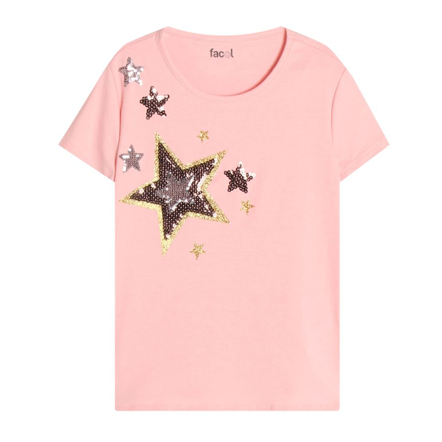 Camiseta Niña Estrellas Color Rosado, Talla 4