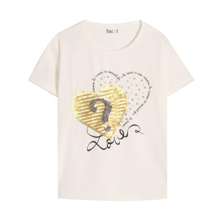 Camiseta M/C Love Color Blanco, Talla 10