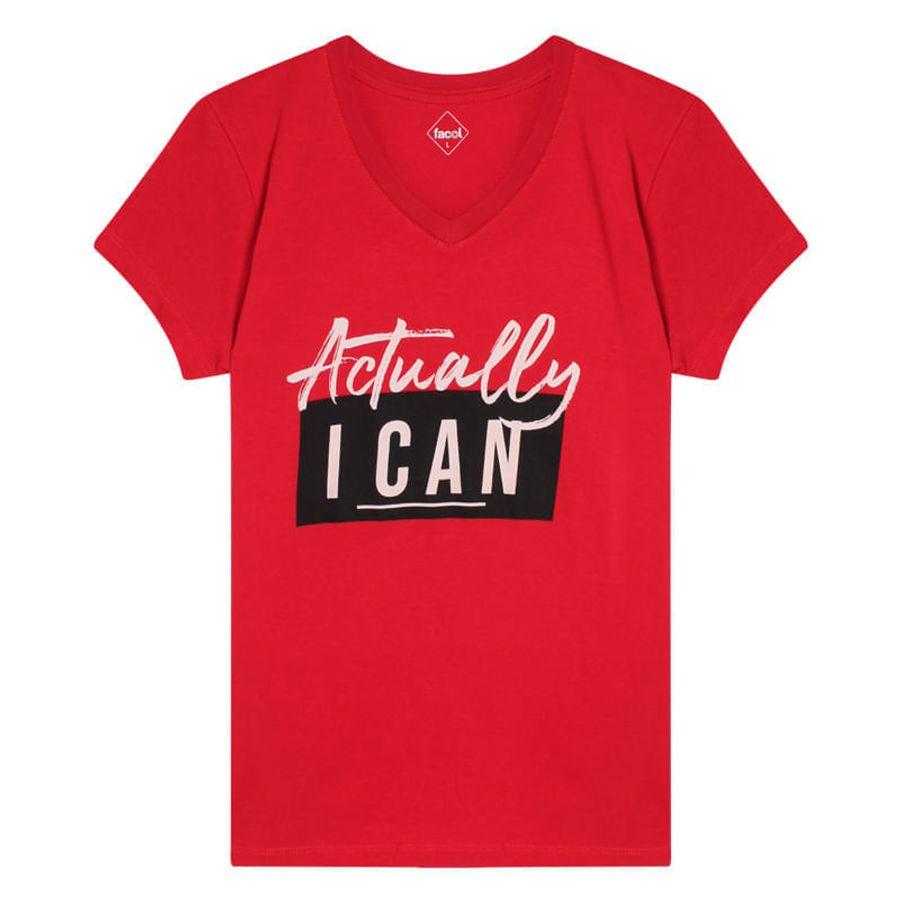 Camiseta M/C Con Screen Actually I Can Color Rojo, Talla L