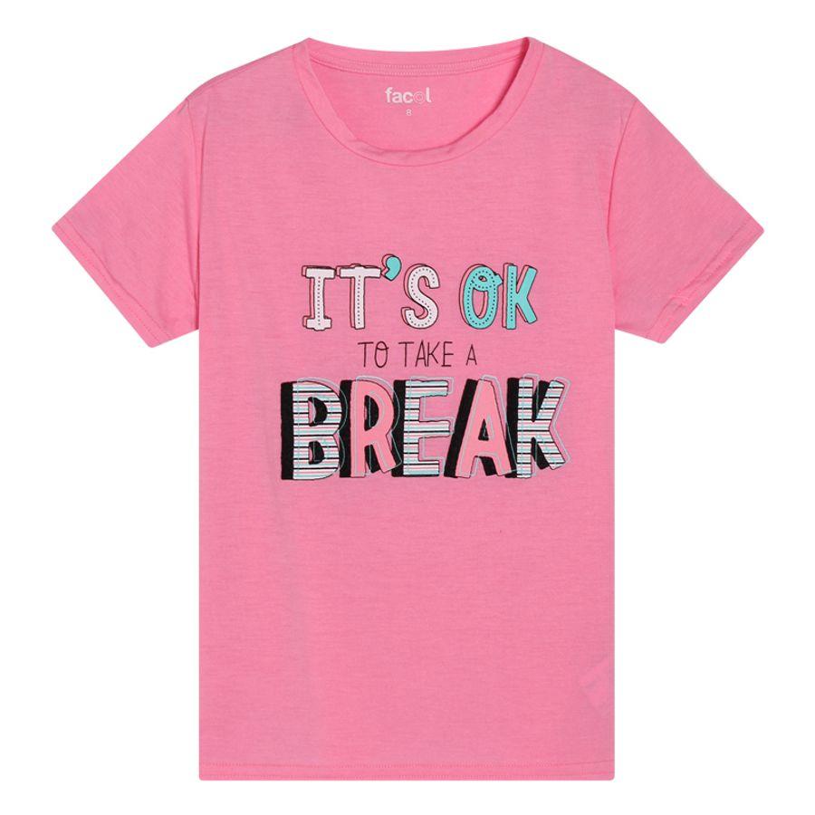 Camiseta M/C It´S Ok To Take A Break Color Rosado, Talla 10
