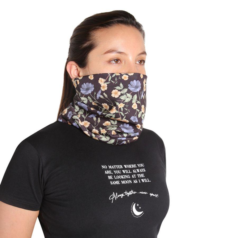 Bufanda Proteccion Estampado Floral Color Negro, Talla M