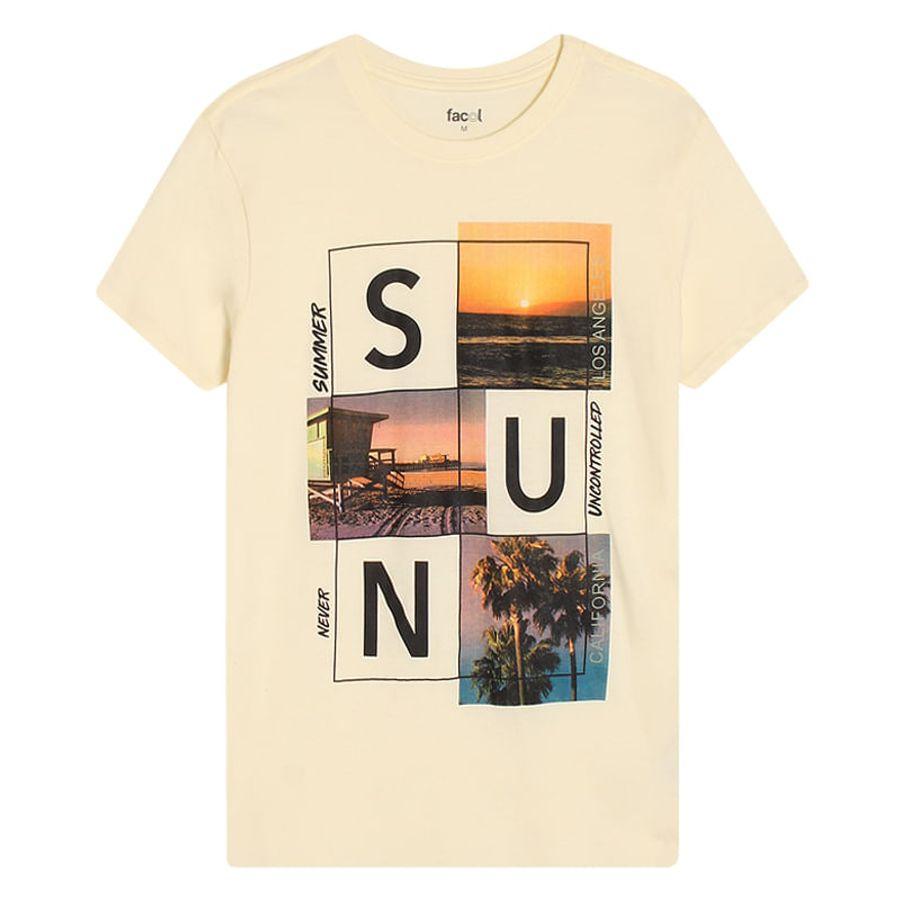Camiseta Hombre Sun Color Blanco, Talla S