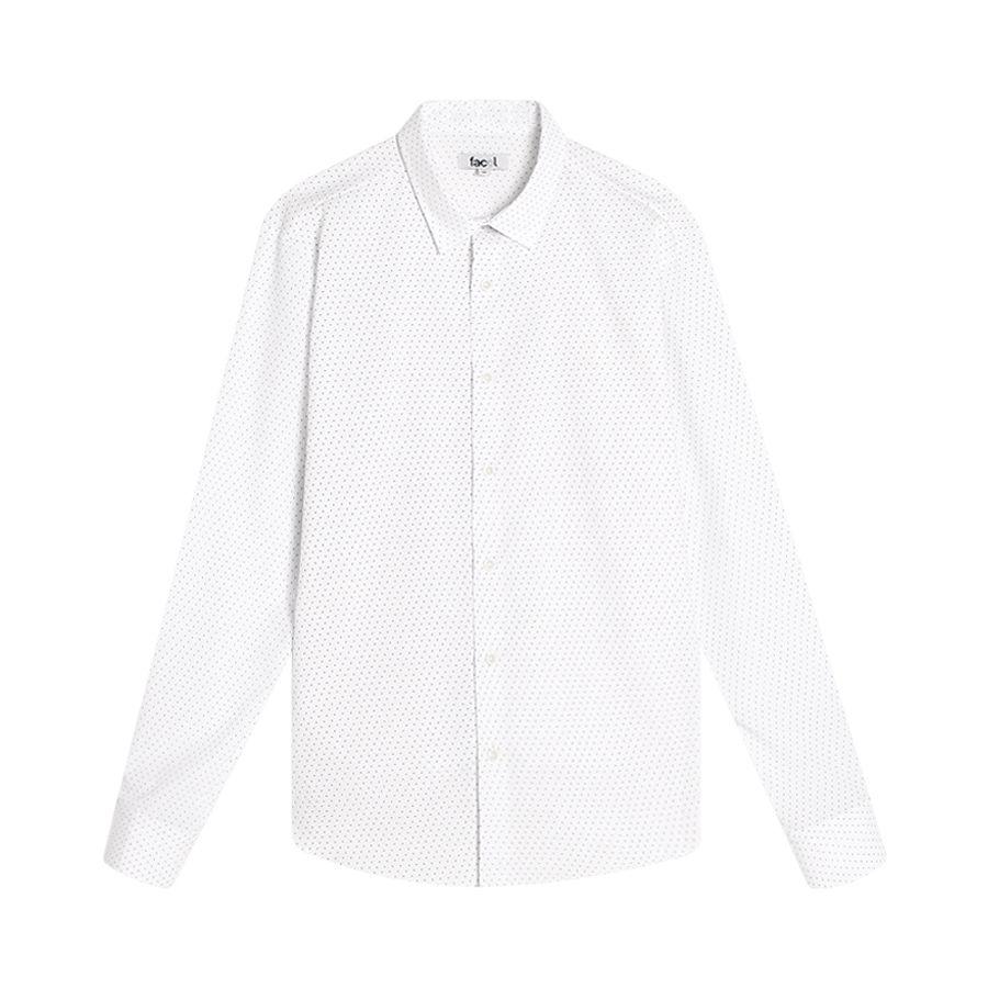 Camisa Hombre Minipuntos Color Blanco, Talla L