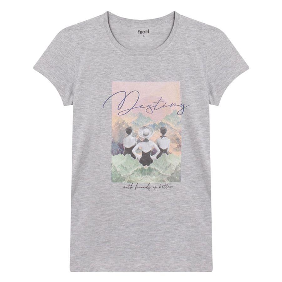 Camiseta M/C Con Screen En Policromia Color Gris, Talla L