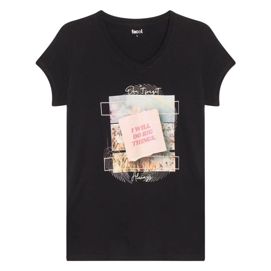 Camiseta M/C Con Screen I Will Do Big Things Color Negro, Talla L