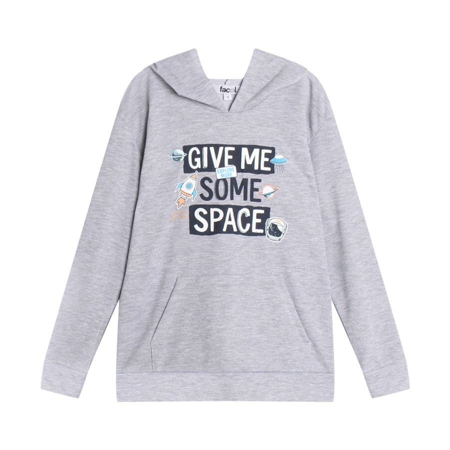 Hoodie Niño Giveme Some Space Color Gris, Talla 10
