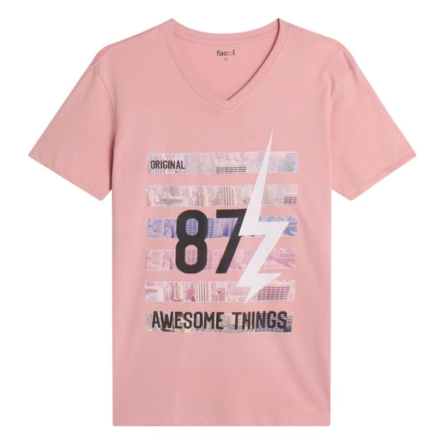 Camiseta Hombre Awesome Things Color Rosado, Talla L