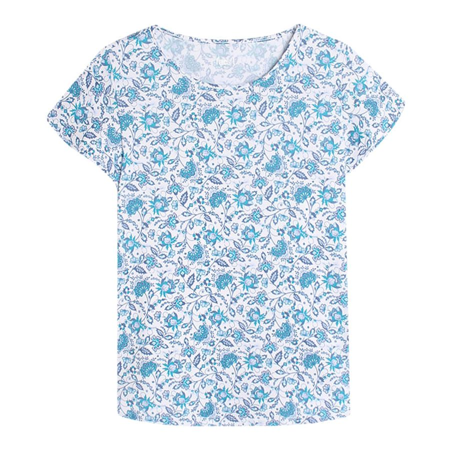 Camiseta M/C Azul Mini Flores Color Azul, Talla L