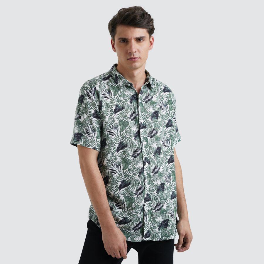 Camisa Esencial Estampada Color Blanco, Talla L