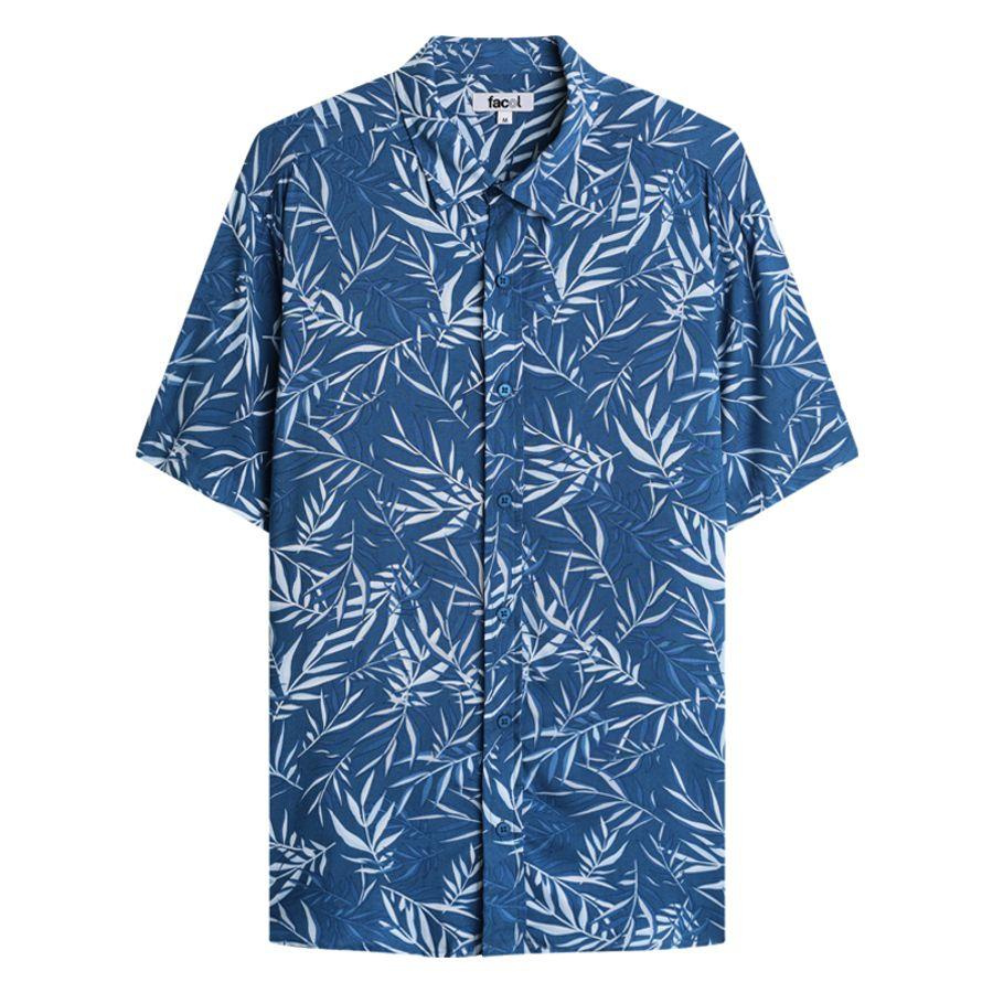 Camisa M/C Estampada Color Azul, Talla L