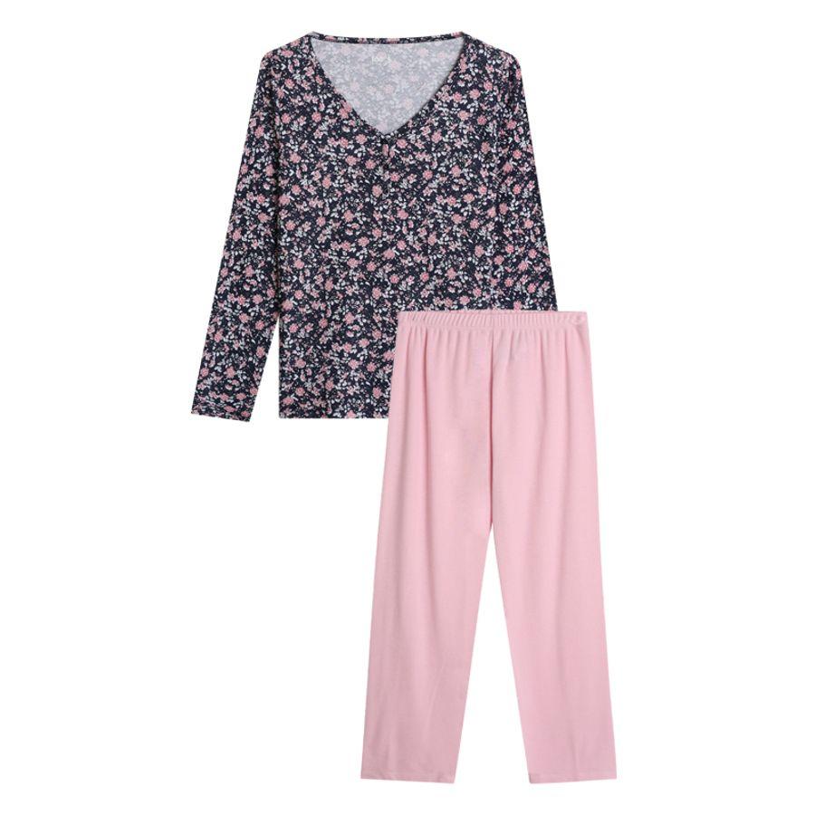 Pijama Con Estampado Mini Flores Color Rosado, Talla M