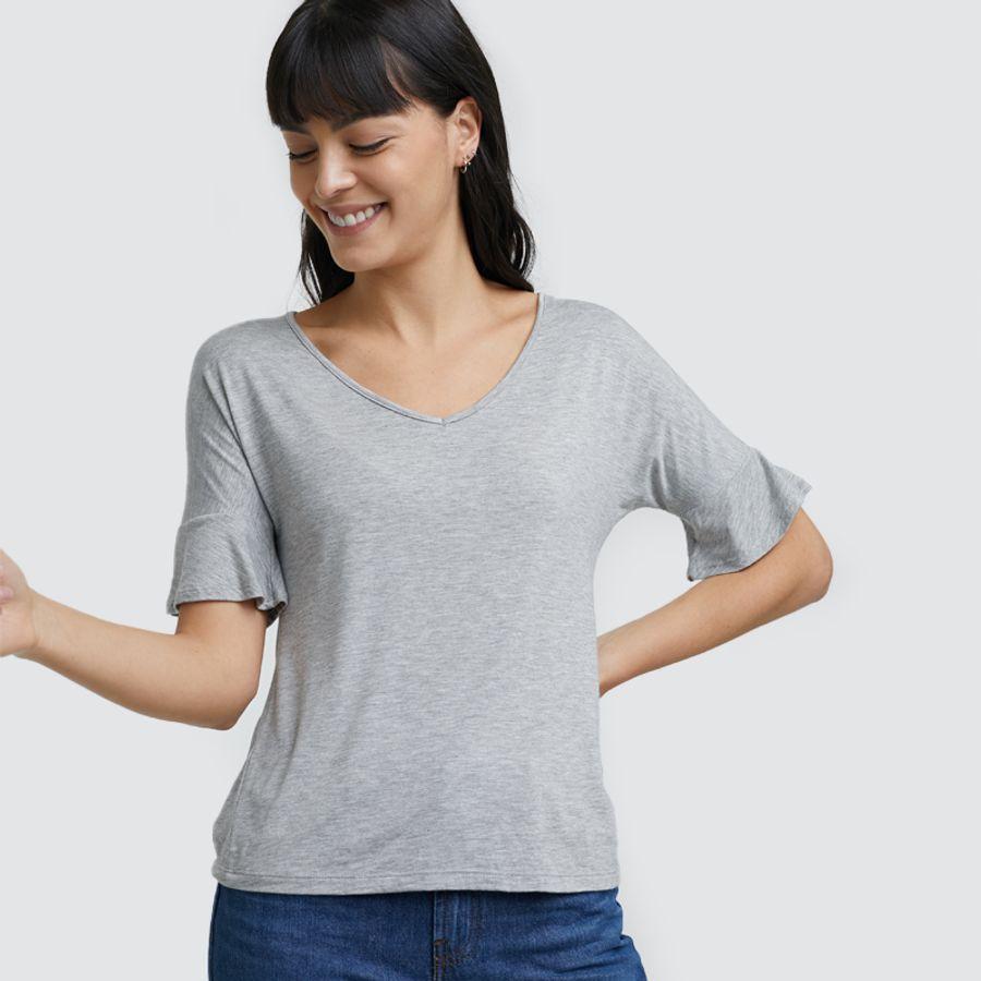 Camiseta Unicolor Escote En V Color Gris, Talla 10