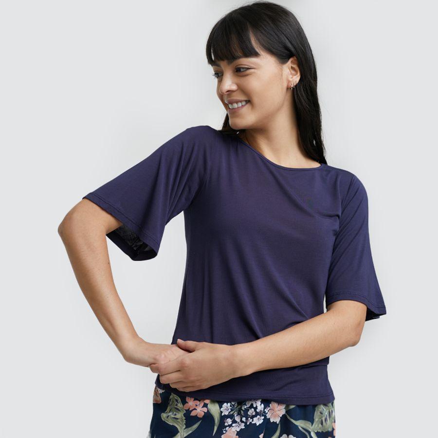 Camiseta Descanso Unicolor Color Azul, Talla L