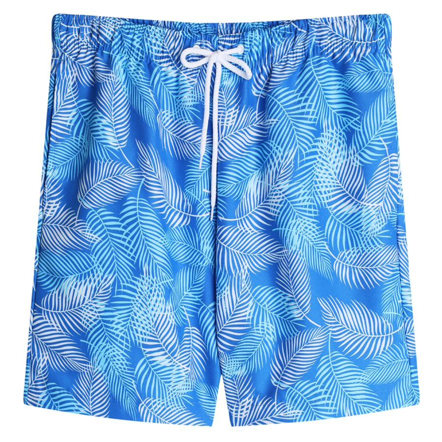 Pantaloneta Baño Hojas Largas Color Azul, Talla L