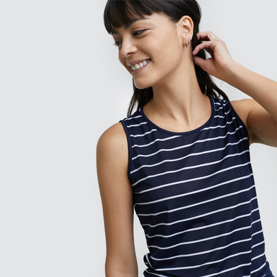 Top Mujer Lineas Horizontales Color Azul, Talla L