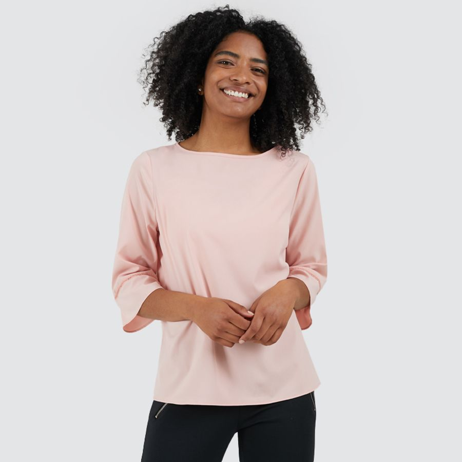 Blusa Mujer Unicolor M3/4 Color Rosado, Talla 10