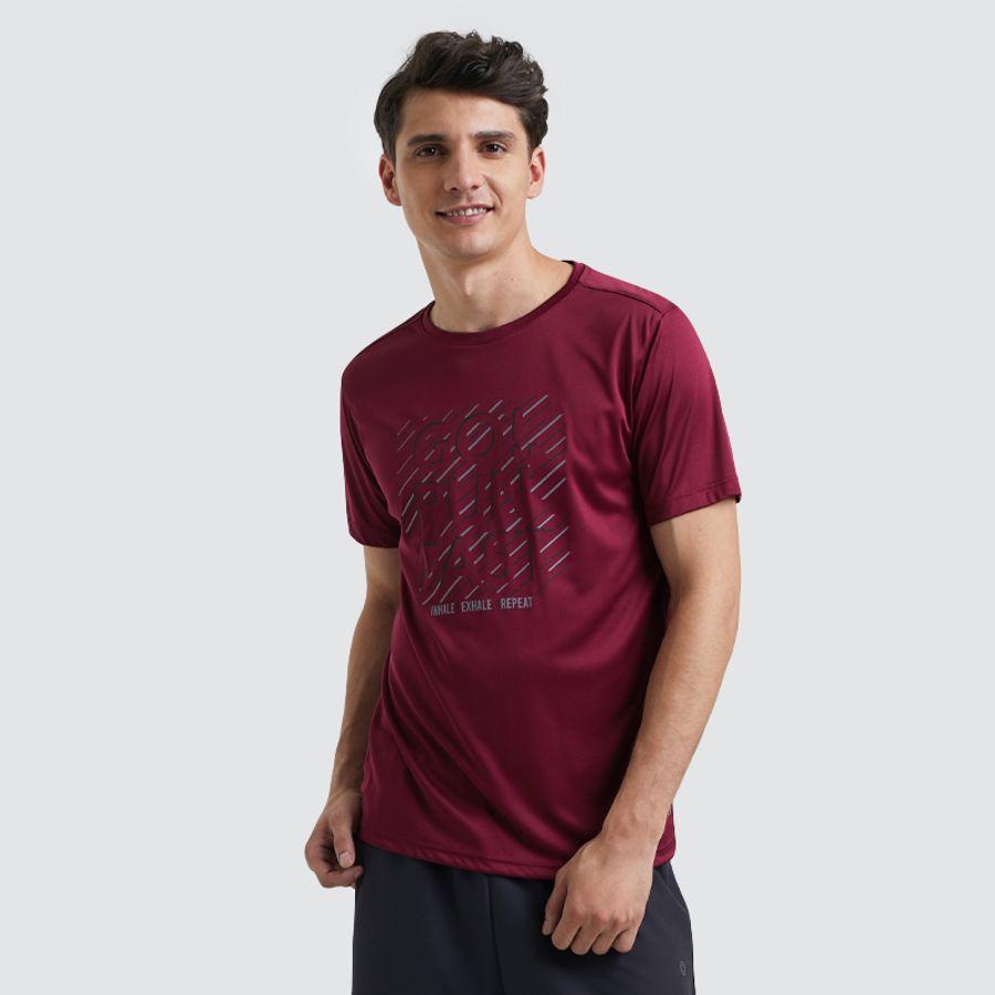 Camiseta Hombre Run Fast Color Vino, Talla L