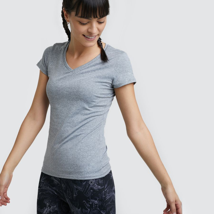 Camiseta Sport Jaspe Mujer Color Gris, Talla XS