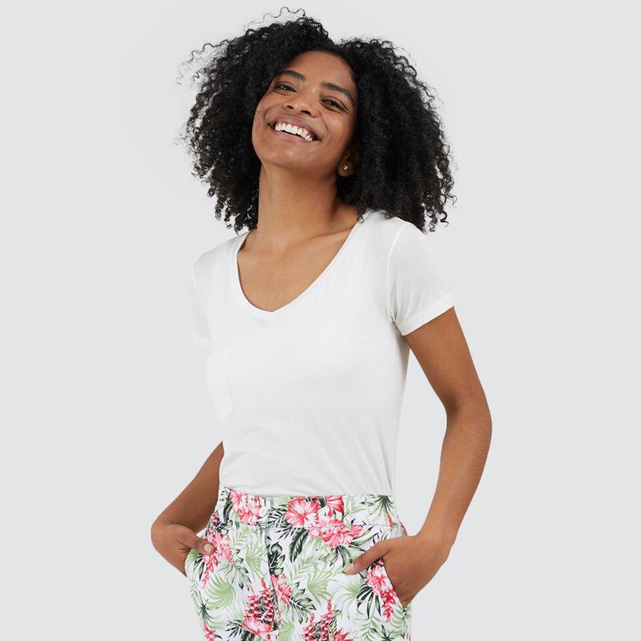Camiseta Unicolor Con Bolsillo Color Blanco, Talla 10