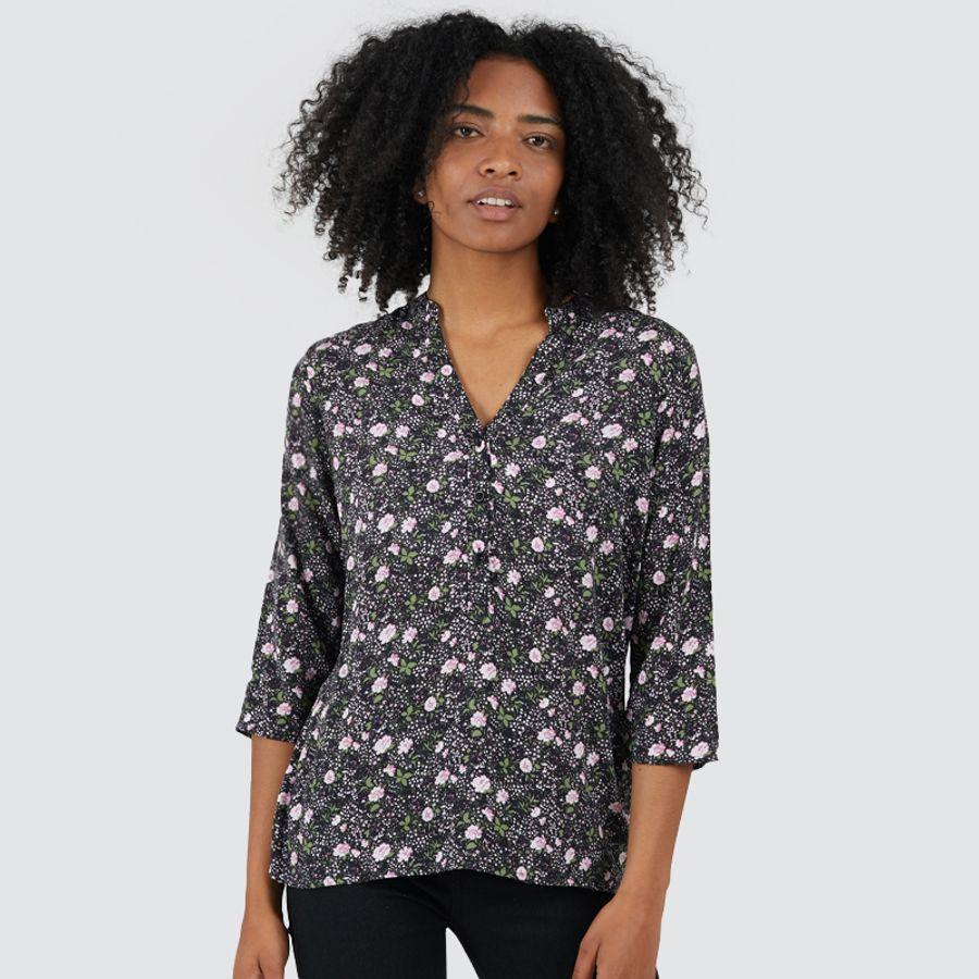 Blusa Mujer Claveles Color Negro, Talla L
