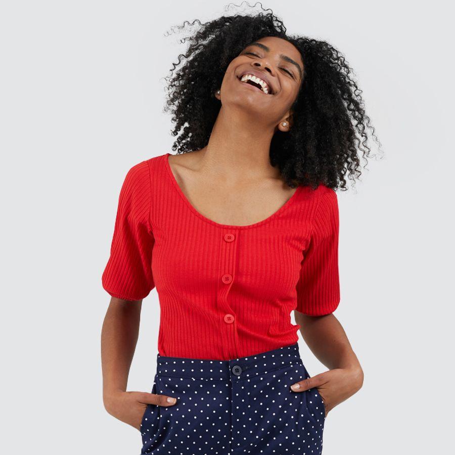Bermuda Mujer Mini Puntos Color Azul, Talla 10