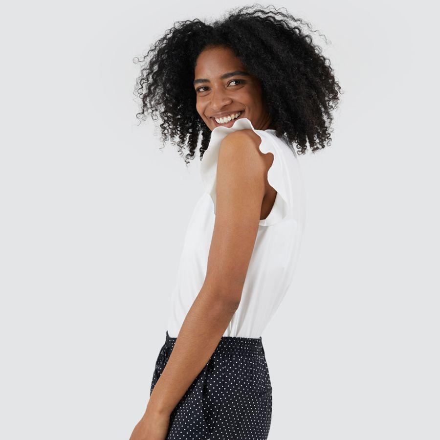 Blusa Mujer Escote En V Color Blanco, Talla 10