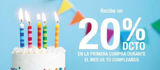 20% de Dcto Cumpleaños por Registro Newsletter
